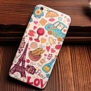 Eiffelturm Stadt Bus Bunt Relief Silikon Taschen Für iPhone 5 / 5S / 6 / 6S