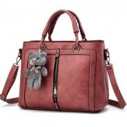 Retro solide Farbe Reißverschluss Schulter Umhängetasche Bär Handtasche