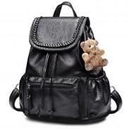 Leisure Weave Black PU Rucksack Bear Doll Travel College Backpack