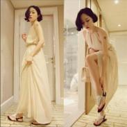 Sommer-reizvolle Halfter-Bügel V-Ansatz Chiffon-Kleid