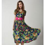 Mode Petunie V-Ausschnitt Kurzarm-Chiffon-Kleid