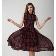Spitze-Kragen-Ärmelloses elastische Taillen-MaschenChiffon-Kleid