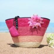 Frischer Sommer-Regenbogen Blumenstreifen Strand Tragetasche Mädchen Weben Handtasche
