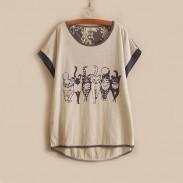 Mori Mädchen Frisch Kätzchen Muster Rollenhülsen Mischfarben Kurzarm-T-Shirt