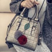 Frau Quilted Umhängetasche Blatt Handtasche Rot Grau Hairball-Umhängetasche