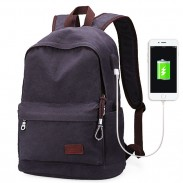 Einfache Männer Freizeitschultasche USB-Schnittstelle Segeltuch Reise Rucksack
