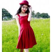 Klassische reizvolle rückenfreie Ärmelloses Rot Literatur Temperament Kleid