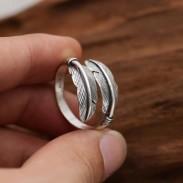 Retro handgemachte Silberblätter Ring Feder Frau Öffnen Ring