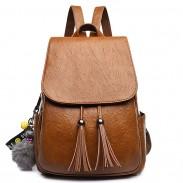 Retro Quaste einfache Brown PU Schultasche einfach Britischer Stil Rucksack