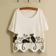 Freizeit Frisch Stickerei Schön Kätzchen Wellig Hem lose Kurzarm-T-Shirt