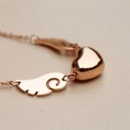 Rose Gold Herz Förmigen Anhänger Halskette