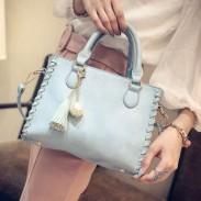 Mode Mattiert Quaste Pearl Anhänger Square Weave Handtasche Mädchen PU-Umhängetasche
