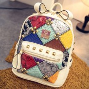Mode Mini Niet Kontrast Schule Rucksack Stitching Bunte Lady Rucksack