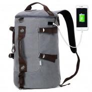 Einzigartige wasserdichte große Kapazitäts-kampierende Sport-Eimer-Taschen-Trommel-USB-Schnittstellen-Schule Segeltuch Reise Rucksack