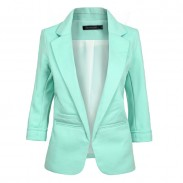 Süßigkeit-Farben-Revers-Kragen OL Gerollt Ärmeln dünne Jacke Weibliche Anzug