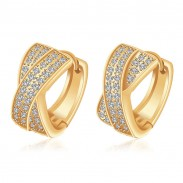 Luxus Gold Vernickelt Hand-Einlegearbeiten Zirkon Ohrring