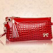 Solide Bogen Krokodil-Muster-Multifunktions Brieftasche Handtasche