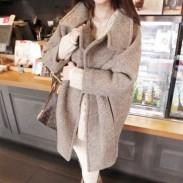 Frauen Grau Revers dicken Woll Langer Mantel