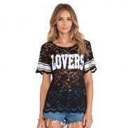 Alphabet Spitze-Ineinander greifen Perspektive Sweatshirt T-Shirt