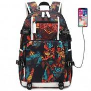 Einzigartige USB-Schnittstelle mit komplexem Muster Wasserdichter Oxford Boy Hohe Schultasche Sport Rucksack