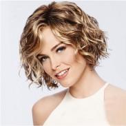Mode braun kurze Rolle gemischt flauschige COS Kopfbedeckung Welle Damen Haar Perücke