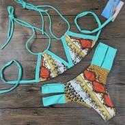 Weinlese -Druck-Bikini-Badeanzug Kuss Bademode Badeanzug