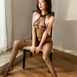 Sexy Neckholder Sheer Mesh Bodystocking Durchsichtig Aushöhlen Body Ouvert Einteiler Dessous
