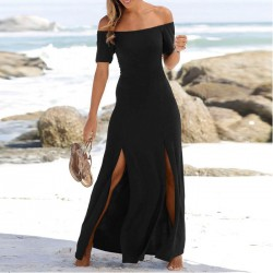 Mode Schwarz Kurzarm Split Trägerloses Langes Partykleid Sommerkleid