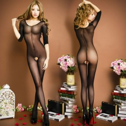 Sexy One-piece Temptation underwear Tights Hot Girl's Open Pussy Perspective Stocking Conjoined Lingerie
