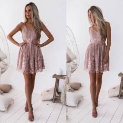 Elegantes V-Ausschnitt Träger rosa Blumenspitze rückenfreies ärmelloses Skater Partykleid Kleid