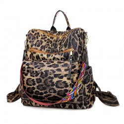 Mode Blume Leopard Rose Wasserdicht Mehrzweck PU Handtasche Umhängetasche Damen Rucksack