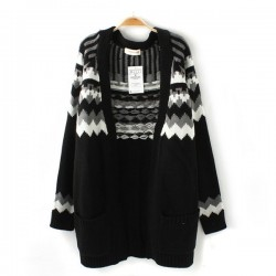 Schwarze Geometrische Jacquard lange Strickjacke Pullover