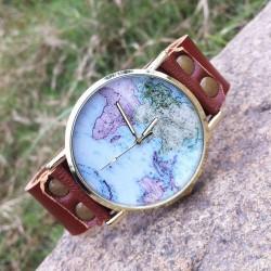 Niedlich Welt Karte Retro Leder Uhr