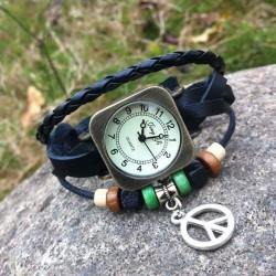 Retro Platz Wickeln Leder Armband Uhr