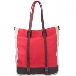Alltag Einfach Mischfarbe Segeltuch Leder-Multifunktions Große Umhängetasche Schultertasche Handtasche