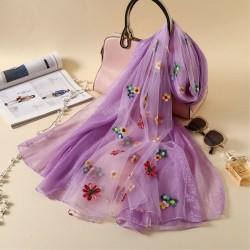 Frische mehrfarbige Blume Sommer Seide Frauen Schals bestickten Schal