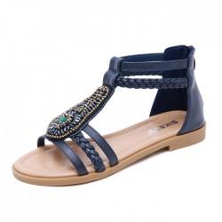 Vintage Bohemia Perlen Reißverschluss Strass Sommer Wohnungen Damenschuhe Römische Sandalen