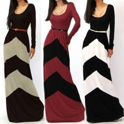 Arbeiten Sie reizvollen Geometrischen Farbe lange Kleider