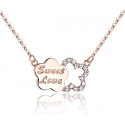 Plum Brief Diamanten besetzte silberne hängende Halskette