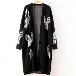 Mode groß Flügel Schwarze Lange Wolljacke-Mantel