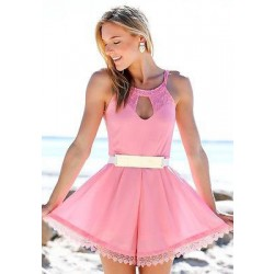 Süße hohle Spitze Ärmelloses rosa Kleid