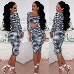 Mode Houndstooth Zweiteiler Kleider Röcke