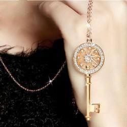 Glänzend Strass Schlüssel Strickjacke-Halsketten