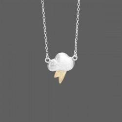 Nette Wolke Blitz-hängende Halskette / 925 Sterling Silber Schmuck