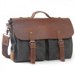 Retro große dicke Segeltuch Spleißen echte Leder Klappe Handtasche Freizeit Laptop Schultertasche