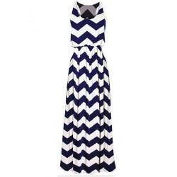 Eingewickelten Kasten Paket-Hüfte-Gewellte Streifen Ärmelloses langes Kleid