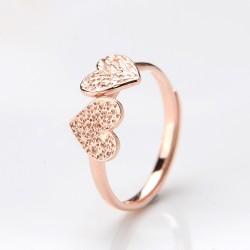 Original Liebhaber Zwei Herz-Rosen-Gold-Öffnungs-Ring