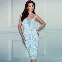 Elegante reizvolle Spitze-Drucken Halfter Straps-Kleid
