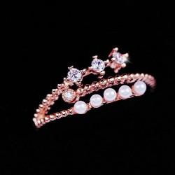 Persönlichkeit Perle Zirkon Öffnung Ring Zeigefinger Ring