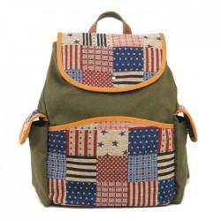 Westlichen Stil US-Flaggen-Retro Streifen Segeltuch Schultasche Rucksack